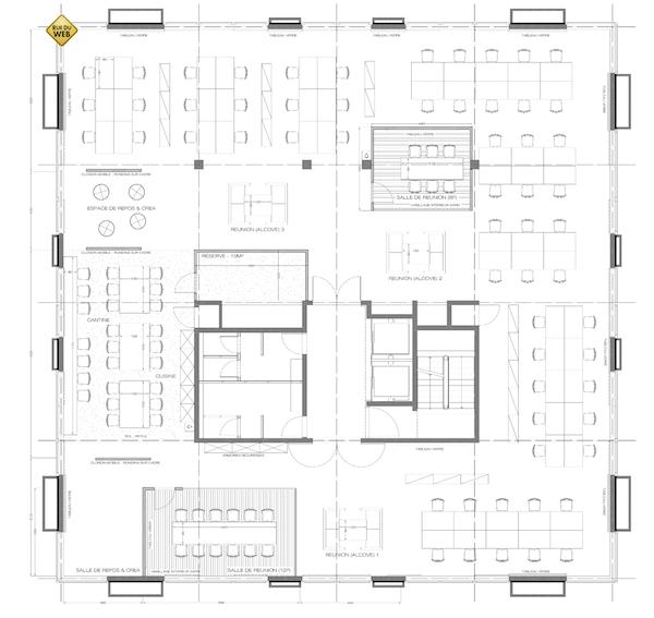 plan de l'espace coworking de la RueDuWeb